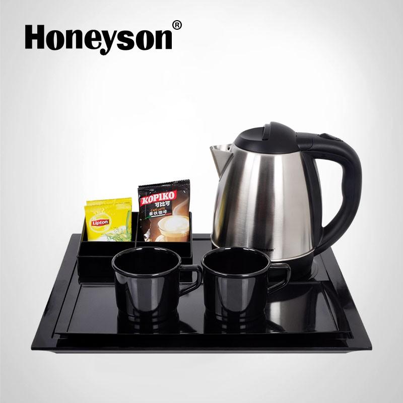 Honeyson Hotel Tea Tray Metal Stainless Steel Cordless Kettle